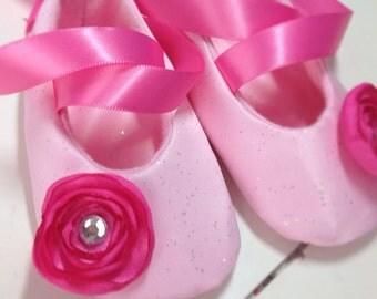 Pink Ballerina Flower Baby Ballerina Shoes