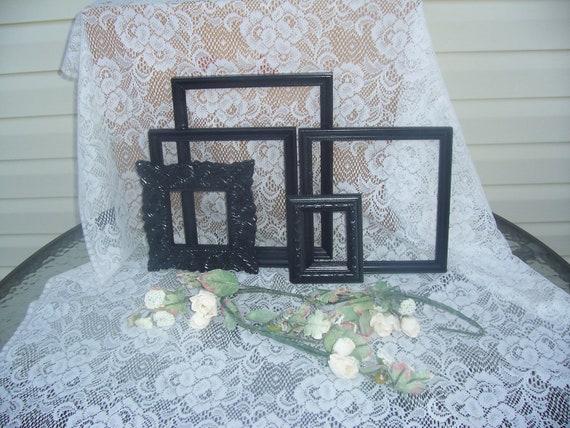 Black Frame Grouping  Frames Romantic  Shabby Chic  Shabby Chic Paris Apartment Upcycled