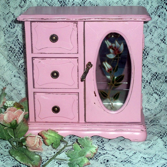 Vintage jewelry box  romantic french farmhouse style in distressed pink girly girl chippy