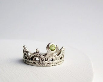 Silver Lace Ring-Style 2 with Peridot, Peridot Silver Ring