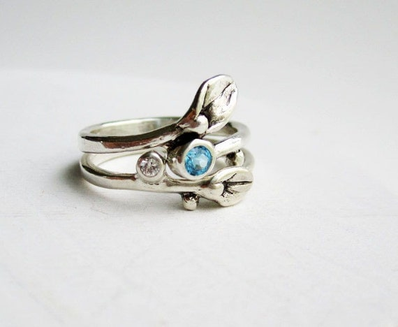 Set of 2 Rings, Engagement Ring, Small Leaf Silver Ring with Blue Topaz and White Sapphire