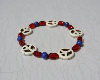 Peace Sign Stacking Bracelet in Red, White and Blue