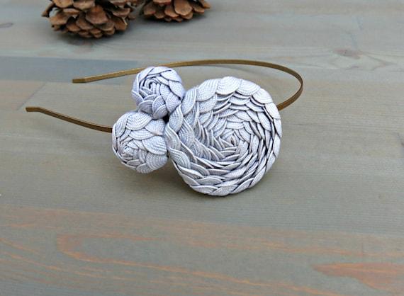 Grey Rosette Headband  for Women