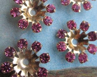 Vintage Swarovski Pink Crystal Flowers