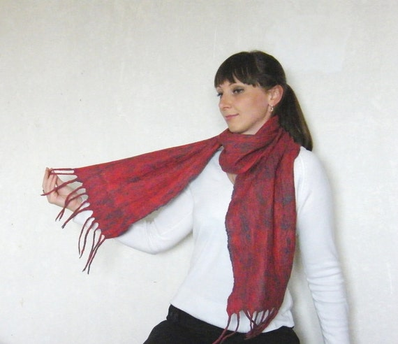 "SALE!!! Unisex felted scarf  ""Chameleon"" . Warm. Eco friendly."
