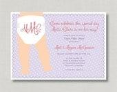 DIY Design - Printable Monogram Invitation for Baby Girl Diaper/Baby Shower