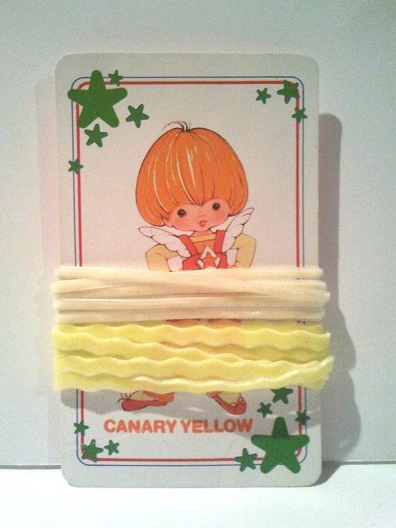 Yellow velvet Ric-rac and cream 3mm velvet ribbon 4 yards total on Rainbow Brite vintage playing card