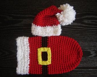 Santa's Cocoon Set Baby Photography Prop Newborn Size