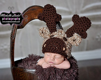 Little Moose Hat Baby Photography Prop Sizes Preemie, Newborn, 0-3 months, 3-6 months