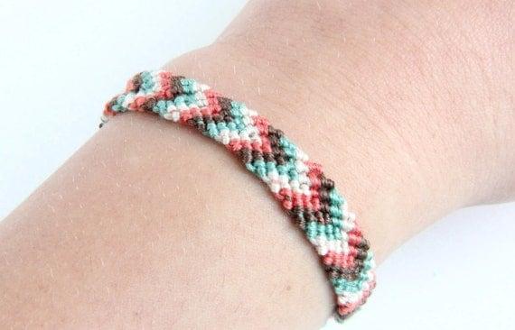 Chevron Braided Bracelet Friendship Aqua Coral Brown White