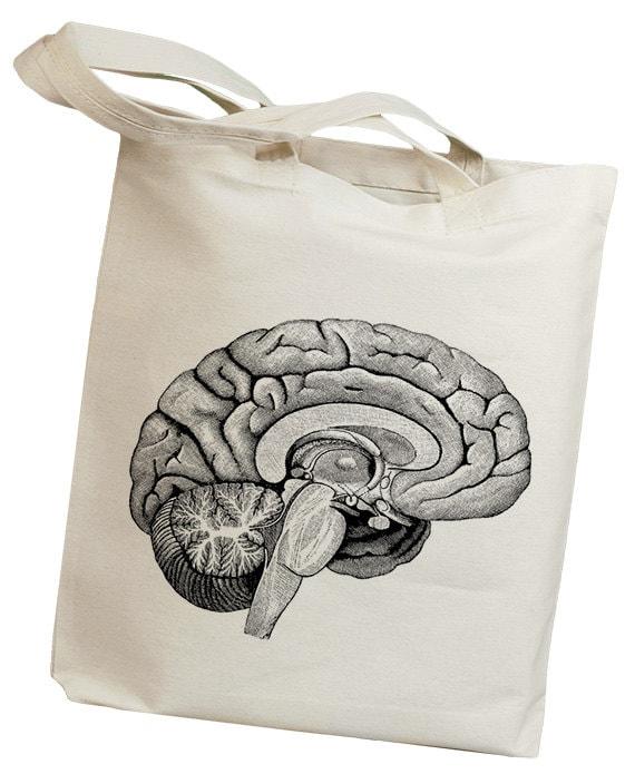 Brain Interior Side Anatomy Vintage Eco Friendly Canvas Tote Bag (id5522)