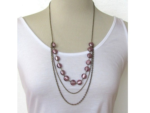 Purple Beaded Bib Necklace : Statement Necklace, Multi Strand Draped Layering Necklace, Holiday Jewelry, Bubble Necklace