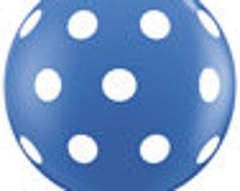 3 Foot Big Polka Dot Blue Balloon w/Tassel
