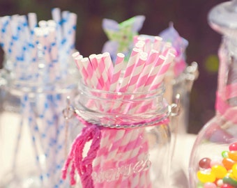 Pink Paper Straws-Set of 25 w/DIY Confetti Celebration Flags