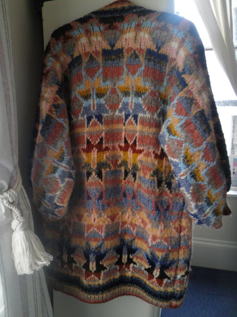 Awesome Rare Handknit Kaffe Fassett Wool Outlined Star Coat