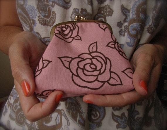 Roses Framed Fabric Coin Pouch, jewelry pouch, pills purse, in pink and brown Roses Pattern