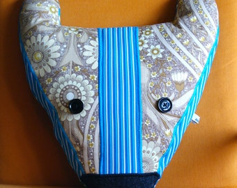 Badger Cushion - Stripe/Floral Pattern