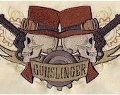 "Steampunk Cowboy ""Gunslinger"" embroidered apron"