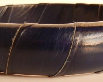 Vintage Leather Wrapped Bangle Bracelet Boho Navy Blue