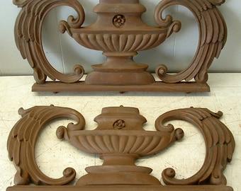 Vtg  Pair Decorative Furniture Embellishment Architectural Trim Pediment Repurpose Pieces