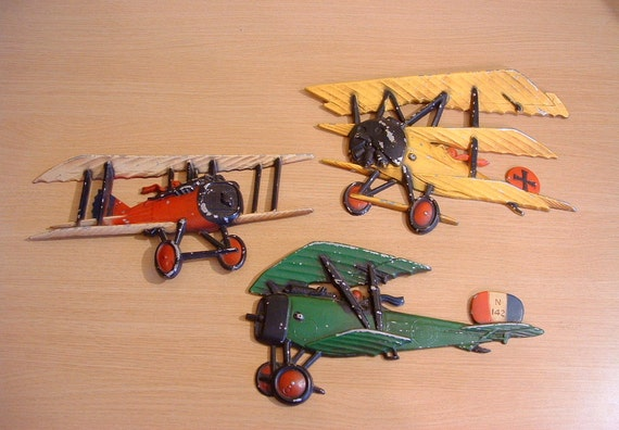 3 Vintage Homco Cast Metal Ww1 Airplane Biplane Wall Plaques