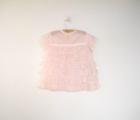 1960's Bright Pink Chiffon Ruffle Party Dress