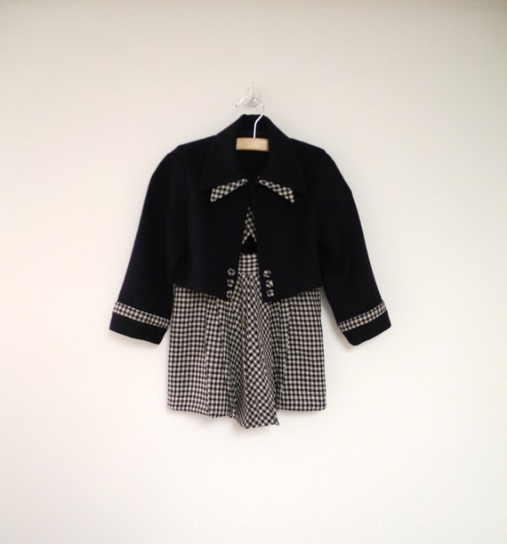1940's Handmade Navy Blue and White Wool Houndstooth Coat and Pleated Dress Set