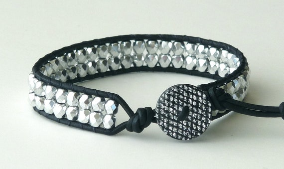 Chan Luu style, beaded leather wrap bracelet, bling, boho, black, silver