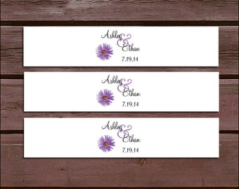 100 Lavender Purple Daisy Wedding Invitation Belly Bands Wraps.  Includes personalization and  printing