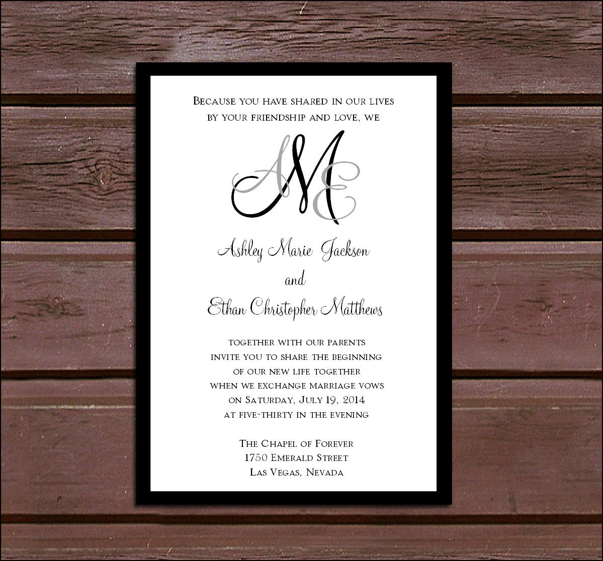 Monogram Wedding Invitations RSVPs Reception Insert w