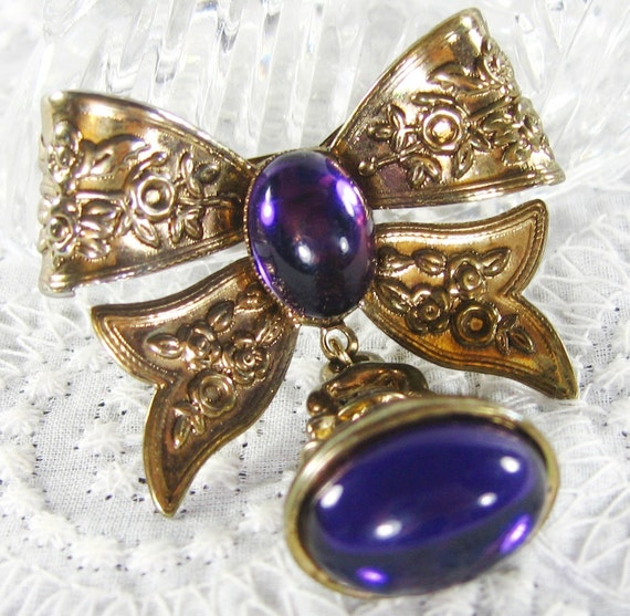 RESERVED for YING YING- Vintage Dangle Brooch, Gold Bow, Purple Amethyst Moonglow Lucite Cabochons, Ornate Flowers, Fob Charm, 1950s 1960s