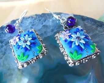 Bezel Blue and Purple Flower Earrings