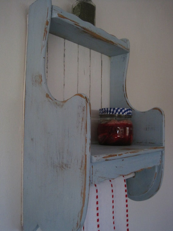 Rustic Shabby Chic Open Wall Cabinet & Towel Bar  in French Country Blue and White