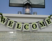 Damask WELCOME Wedding Banner Party Decor Reception Decor Home Decor Photo Prop You Choose the Colors