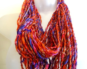 Handspun Art Yarn - Sparkles -  Ribbon -  Cormo wool - Merino Wool
