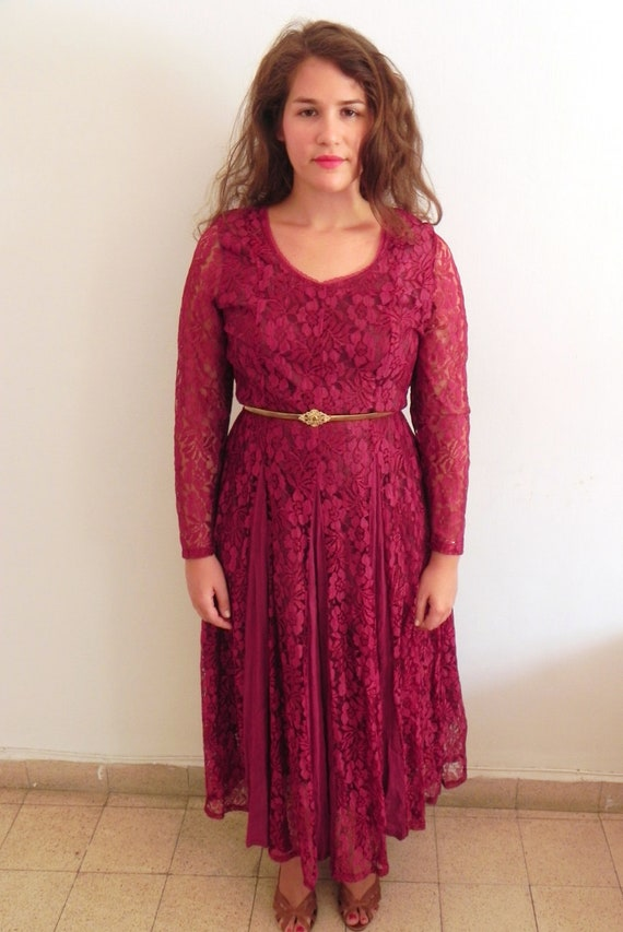 Burgundy Lace Maxi Dress - SALE