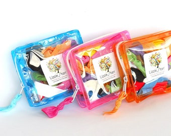 3 ZIPPER POUCHES - Three pouches containing 10 Elastic Hair Ties / Bracelets / Hair Bands
