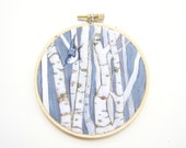 Embroidery Hoop, Birch Trees and Nuthatch Bird