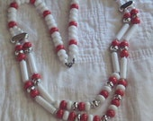 Vintage Unsigned Double-Strand White, Red with Silver  plastic beads Necklace