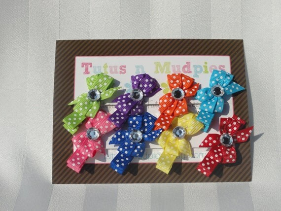 Baby Starter Gift Pack - Pin Wheel Bows - Set of 8 Clips