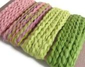 Cotton Yarn Fiber Trim, Spring Colors. Card, Gift Embellishment, DIY Craft Trim, Pink and Green Yarn