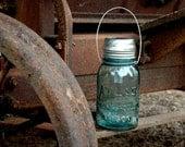 Hanging Antique Blue ATLAS Mason Jar Solar Light QUART Perfect Mason  - High Quality
