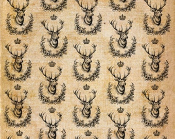 Christmas Deer king,  crown ,background, wallpaper,  Digital  Download Sheet, Transfer To Pillows ,Burlap Bag, or Print on paper