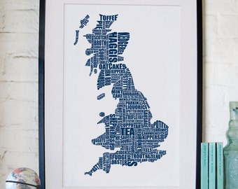British Gastronomy map print