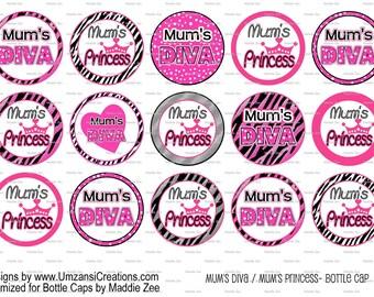 "15 Mum's Princess/Mum's Diva Digital Download for 1"" Bottle Caps (4x6)"