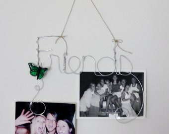 Friends Wall Hanging Photo Holder, Wire Picture Frame Collage, Wire Word Art, Best Friends Gift with Green Butterfly, Wall Art