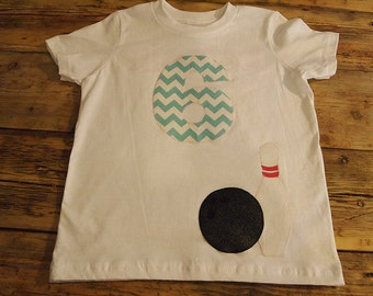 Bowling Shirt birthday tee bowling party can be customized for boys and girls select your colors fabrics
