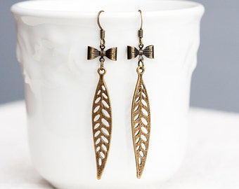 Tiny Bow Long Leaf Earrings Skeleton Leaves Antiqued Sweet Bow Earrings Bohemian Feather Jewelry - E192