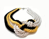 Ivory Yellow Black Nautical Sailor's Knot Rope Infinity Necklace