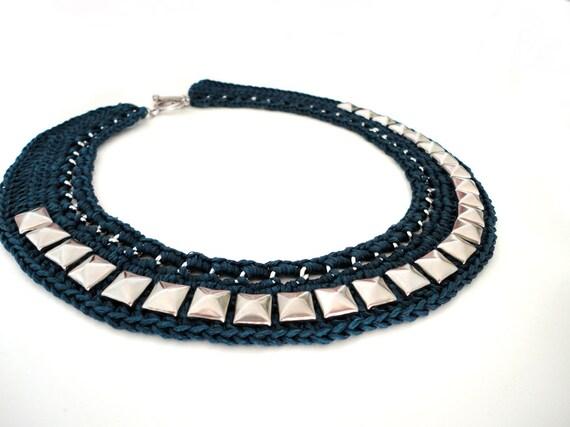 Navy Blue Crochet Stud Collar Bib Necklace
